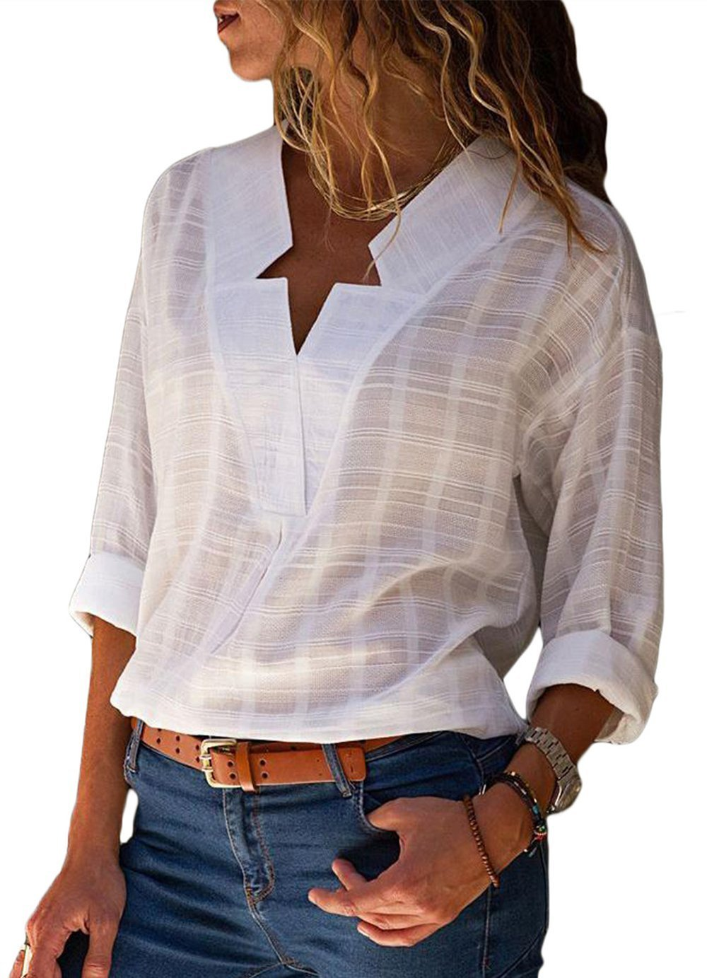 Happy Sailed Women Casual V Neck Cuffed Sleeve Print Loose Fit T Shirt Blouses Tops X-Large White by Happy Sailed (Image #1)