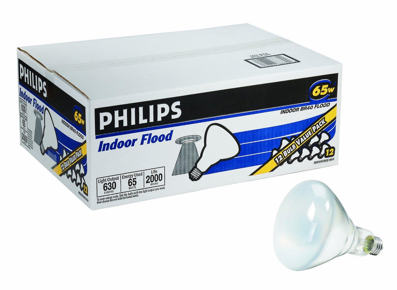 Philips Indoor Dimmable BR40 Flood Light Bulb: 2710-Kelvin, 65-Watt, Medium Screw Base, Soft White, 12-Pack