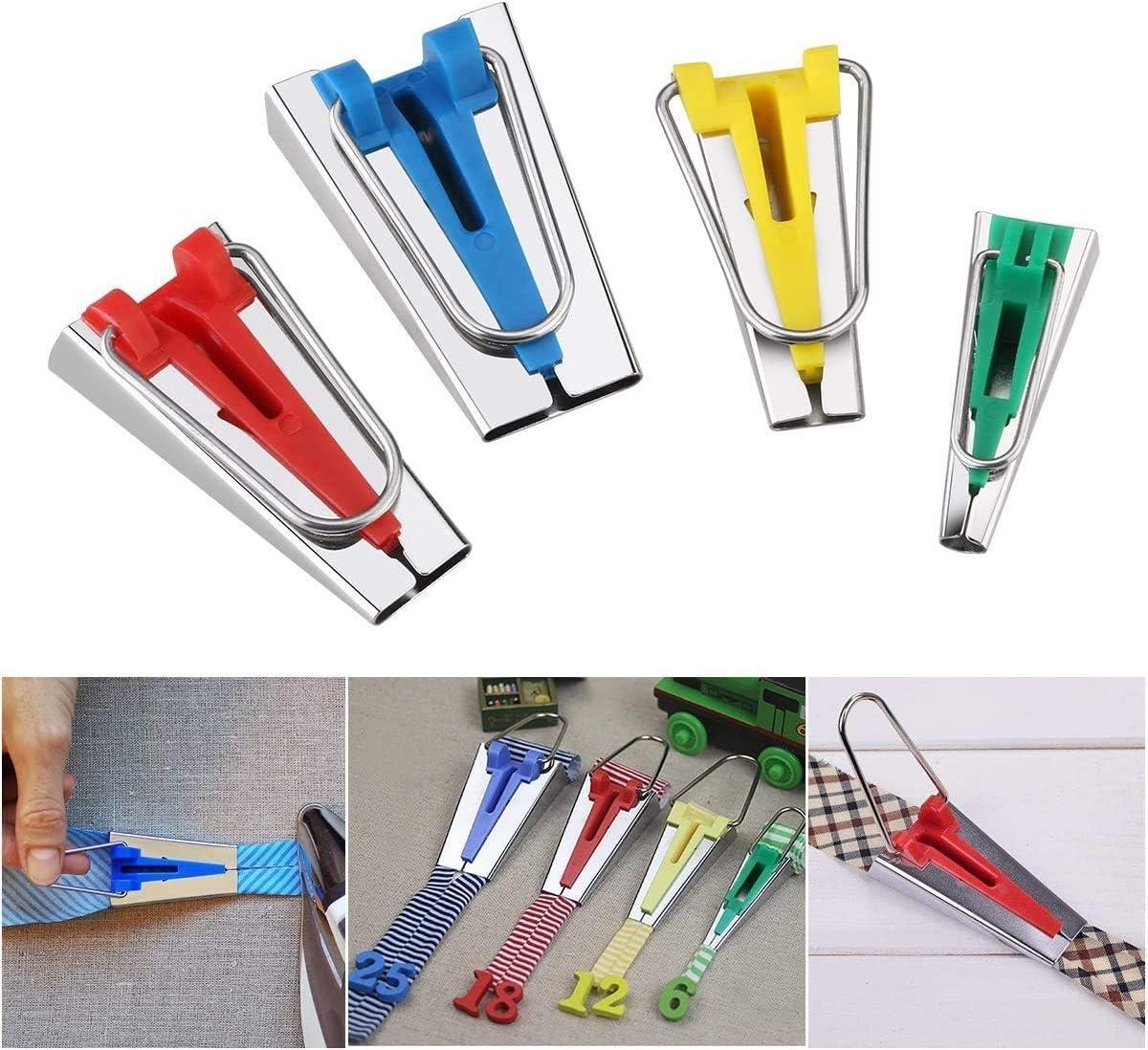 ZXYAN 6MM 12MM 18MM 25MM Clips Quilting Pins Kit Biais Maker Tissu Biais Maker avec Pied Binder