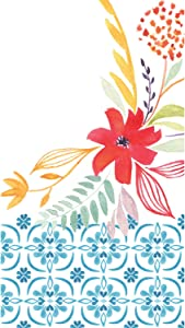 Cypress Home Watercolor Floral Paper Guest Towel, Set of 15-8 x 1 x 5 Inches