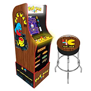 Arcade 1Up Arcade1Up Pac-Man 40th Anniversary Special Edition Arcade Game Machine with Marquee, Riser and Stool - Electronic Games