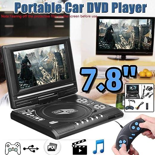 7.8 Pulgadas Portátil HD TV Inicio Coches Reproductor De DVD, 16: 9 Girar La Pantalla LCD USB VCD CD MP3 DVD SD Card RCA TV por Cable Juego Portatil: Amazon.es: Hogar