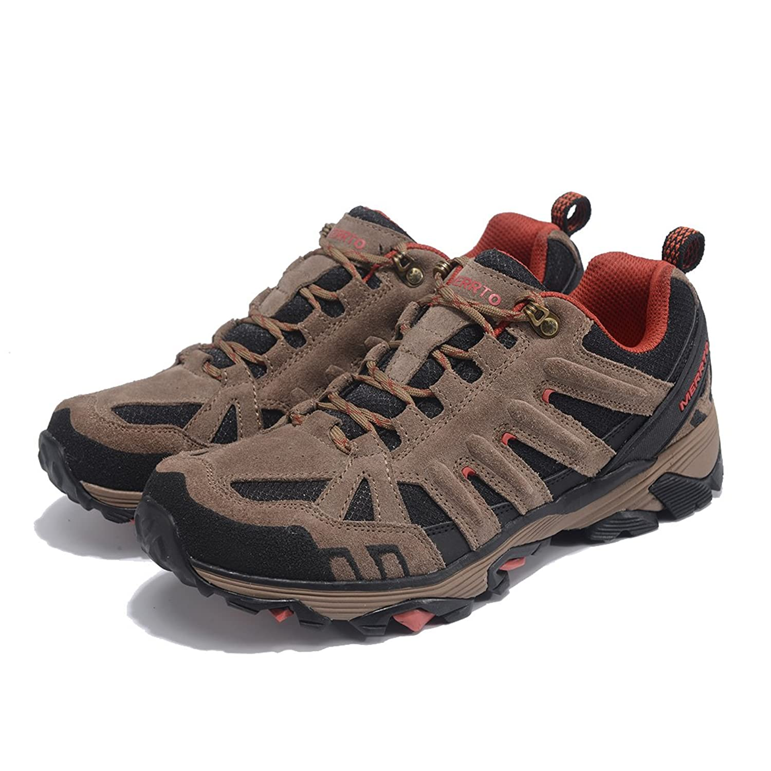 Men's Outdoor Suede Leather Hiking Shoes (8 Khaki)