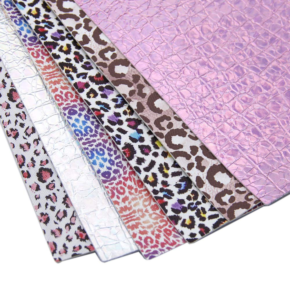 David Angie Leopard Printed Faux Leather Sheet Holographic Burst Crack Synthetic Leather Fabric Assorted 6 PCS 7.9 x 13.4 Leopard 20 cm x 34 cm for Hair Accessories DIY Crafts Making
