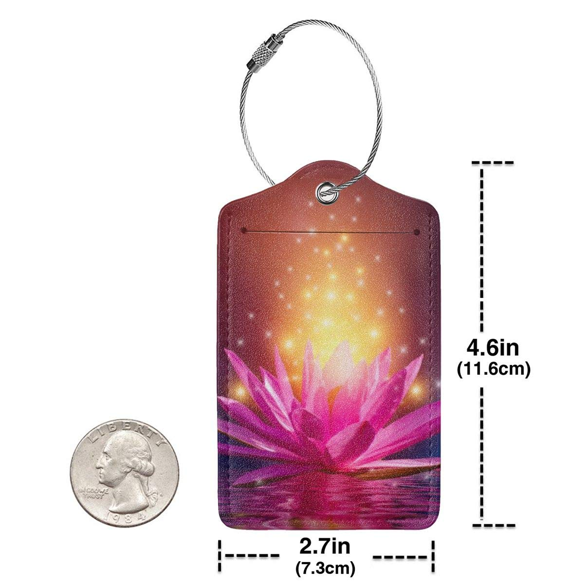 Lucaeat Lotus Pink Light Background Luggage Tag PU Leather Bag Tag Travel Suitcases ID