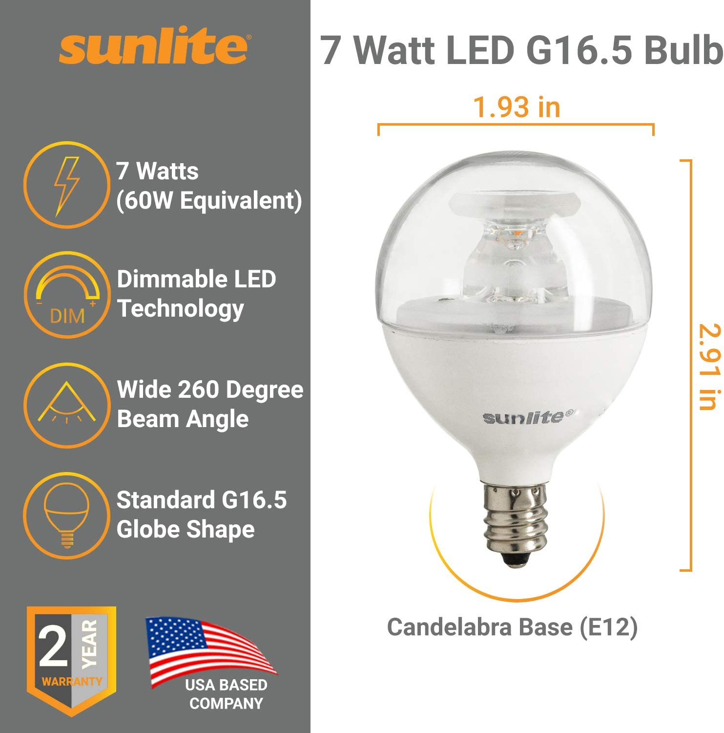 EOV293 #YY12R 6 Pcs LED Bulb 7W Globe G16.5 Candelabra Base Warm White Dimmable Compatible with Sunlite