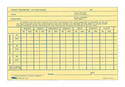 TOPS Weekly Time Report Card, 6 x 4 Inch, Index Bristol Stock, 100-Count,  Buff (3017)