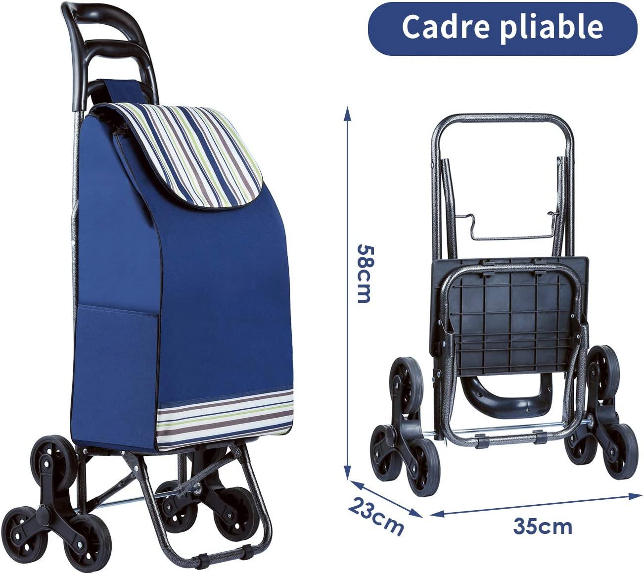imperméable courses 3 roues Chariot Panier 38 L Mfavour pliant Escalier Escalade