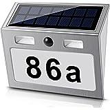 led solarhausnummer mit bewegungsmelder edelstahl mit komplettem nummern und zahlenset. Black Bedroom Furniture Sets. Home Design Ideas