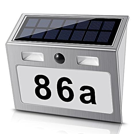 Real Power LED Número de Casa iluminado Solar Farol solar acero inoxidable con detector de movimiento