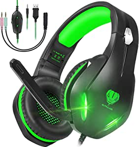 GH-2 Gaming Headset with Microphone for PS4,PC,Xbox One,Nintendo Switch, Noise Cancelling Over Ear Headphones with Mic, LED Light, Bass Surround, Soft Memory Earmuffs for Laptops Phones Mac (Green)