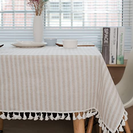 ColorBird Stripe Tassel Tablecloth Cotton Linen Dust-Proof Table Cover for Kitchen Dinning Tabletop Decoration (Rectangle/Oblong, 55 x 120Inch, Blue)