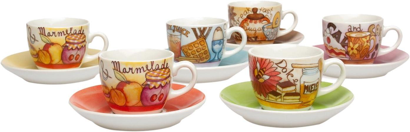 Tognana Iris Breakfast Kaffeetassen mit Untertassen 6er Packung