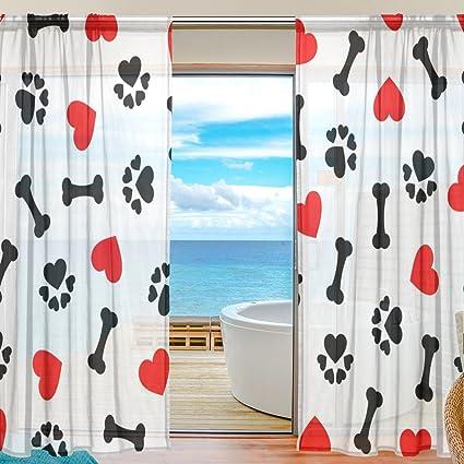 SEULIFE Cortina para ventana, diseño de huellas de perro, color rojo, cortina de