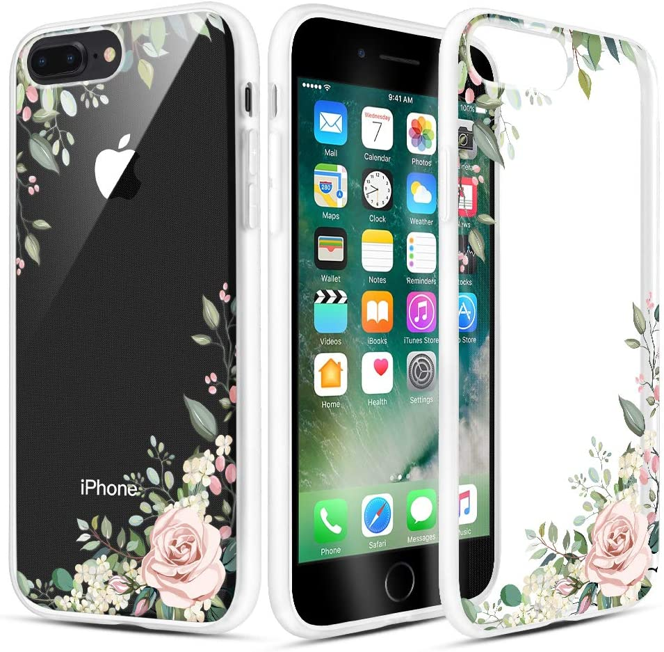 Caka iPhone 7 Plus Case, iPhone 8 Plus Clear Floral Case Flower Pattern Slim Girly Anti Scratch Excellent Grip Soft TPU Crystal Case for iPhone 6 Plus 6s Plus 7 Plus 8 Plus 5.5 inch (Light Green)