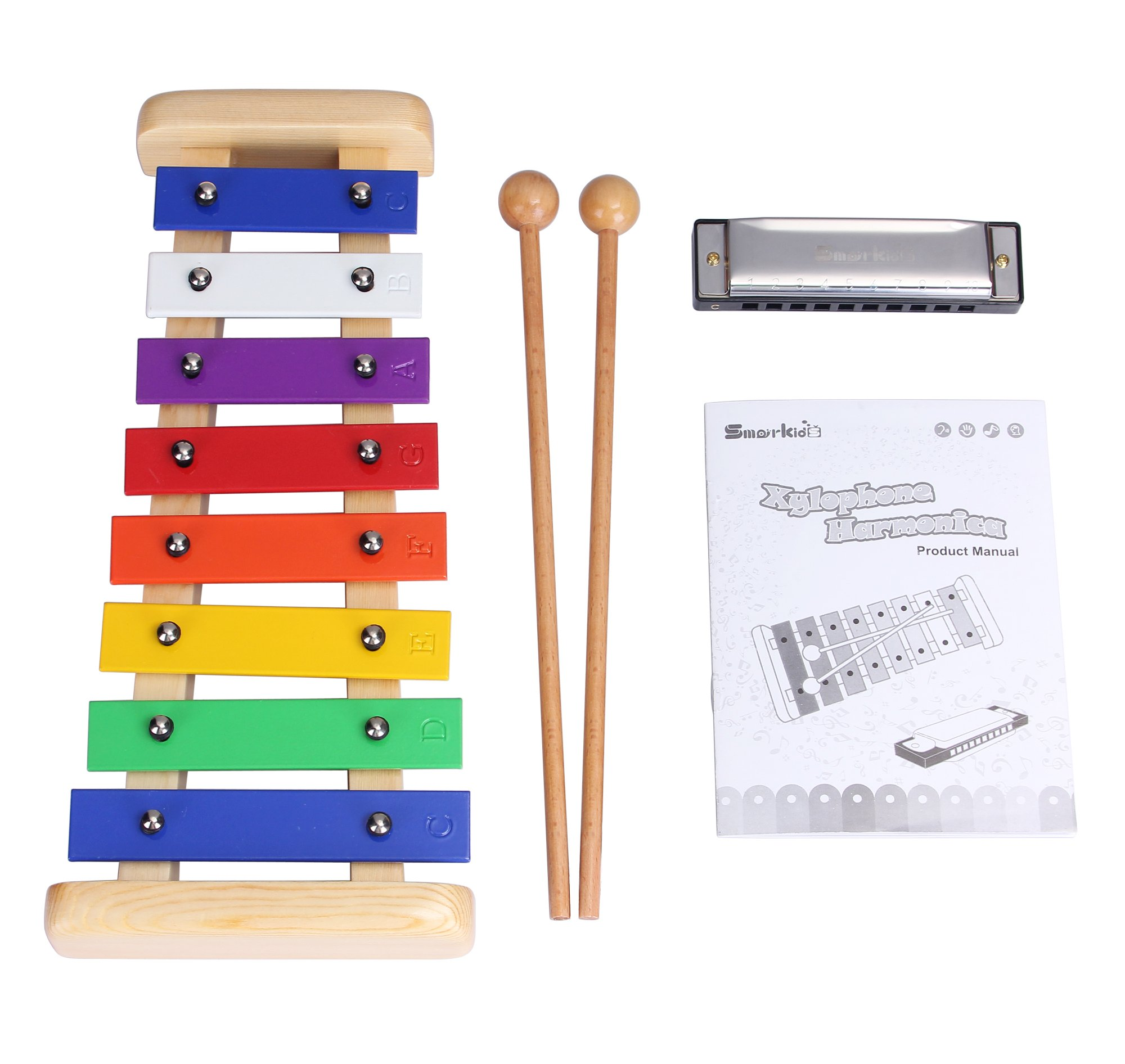 Smarkids Kids Xylophone Wooden Musical Toys Prime 8 Note Metal Keys Glockenspiel and Harmonica Instruments Set with Song Sheet for Toddler, Children, Boys and Girls with Xylophone Mallets by Smarkids (Image #7)
