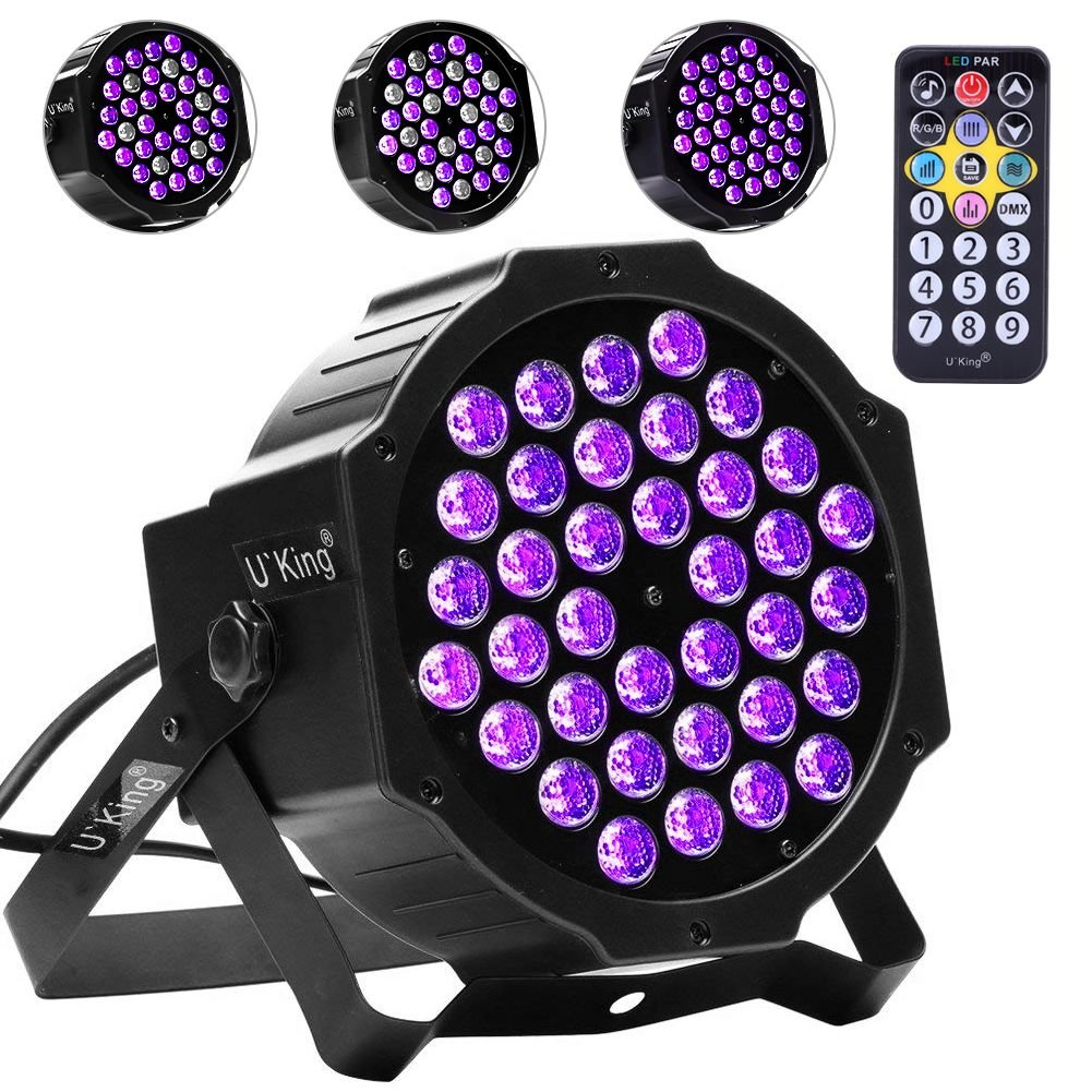 Black Lights, U`King 72W 36LED UV Blacklight with Glow in The Dark Party Supplies by DMX and Remote Control for Stage Lighting