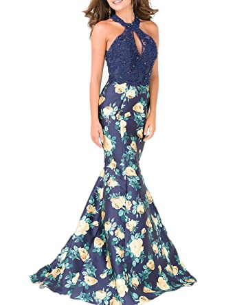 DarlingU Womens Mermaid Halter Lace Prom Evening Party Dresses Beaded Floral Print Gowns Keyhole Navy Blue