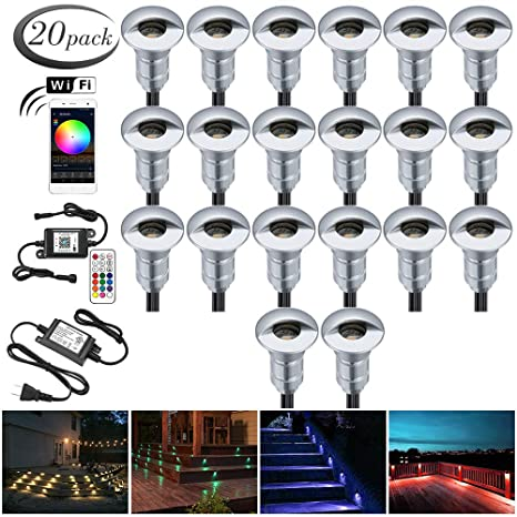 buy online 2c124 f8c97 Alexa Compatible Soffit Lighting Kit, FVTLED 20pcs Low Voltage Lighting  Dimmable LED Light Outdoor WiFi Remote Control Light Work with Alexa Google  ...