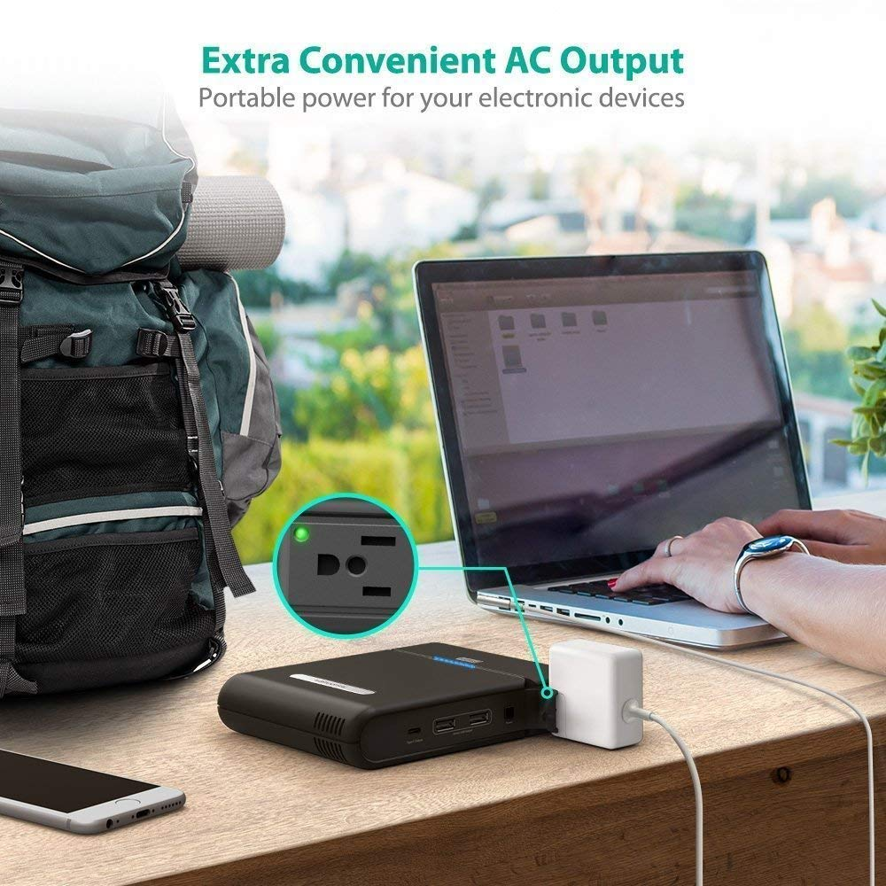 [Updated Version] AC Outlet Portable Charger RAVPower 27000mAh Power Bank 85W(100W Max) Built in 3-Prong Laptop Travel Charger (AC Power Indicator, Type-C Port, Plug Universal, Dual USB iSmart Ports)