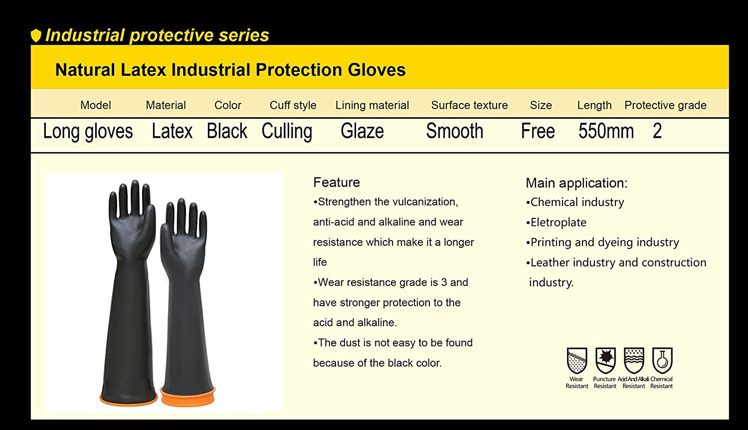 Double One Chemical Resistant Gloves,Safety Work Cleaning Protective Heavy Duty Industrial Gloves,Natural Latex Elbow Length 22'' Length Black 1 Pair Size 10 by DOUBLE ONE (Image #4)