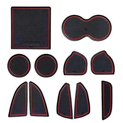 Sporthfish Non-Slip Anti-dust Custom Fit Cup, Door, Console Liner Accessories for Dodge Challenger 2015 2016 2020 2020 2020-11pcs Set (Red): Automotive
