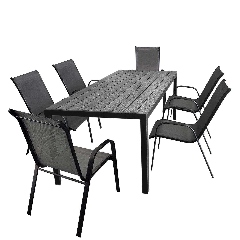 7tlg gartengarnitur aluminium gartentisch tischplatte polywood 205x90cm 6x stapelstuhl. Black Bedroom Furniture Sets. Home Design Ideas