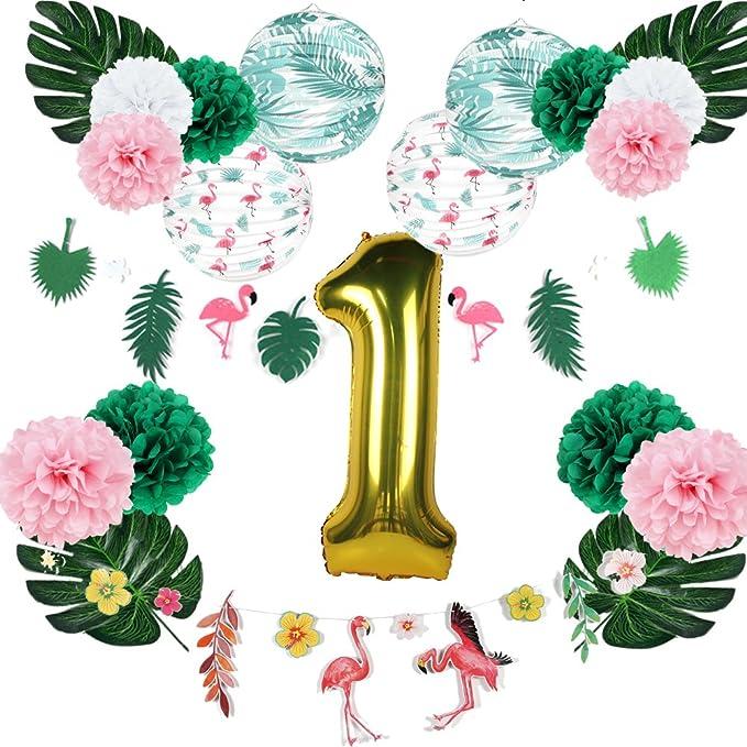 Flamingo Pineapple Theme Pink Number 1 Balloon Flamingo Birthday Pineapple and Flamingo Party Flamingo First Birthday Flamingo Balloon