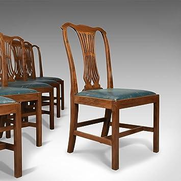 Juego de seis sillas de comedor, inglés, resurgir en blanco pastel ...