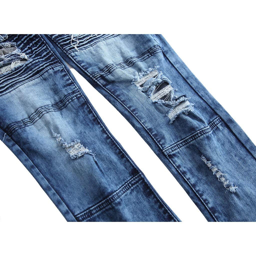 Moda para Hombre Causal Pocket Zipper Slim Fit Shredded ...