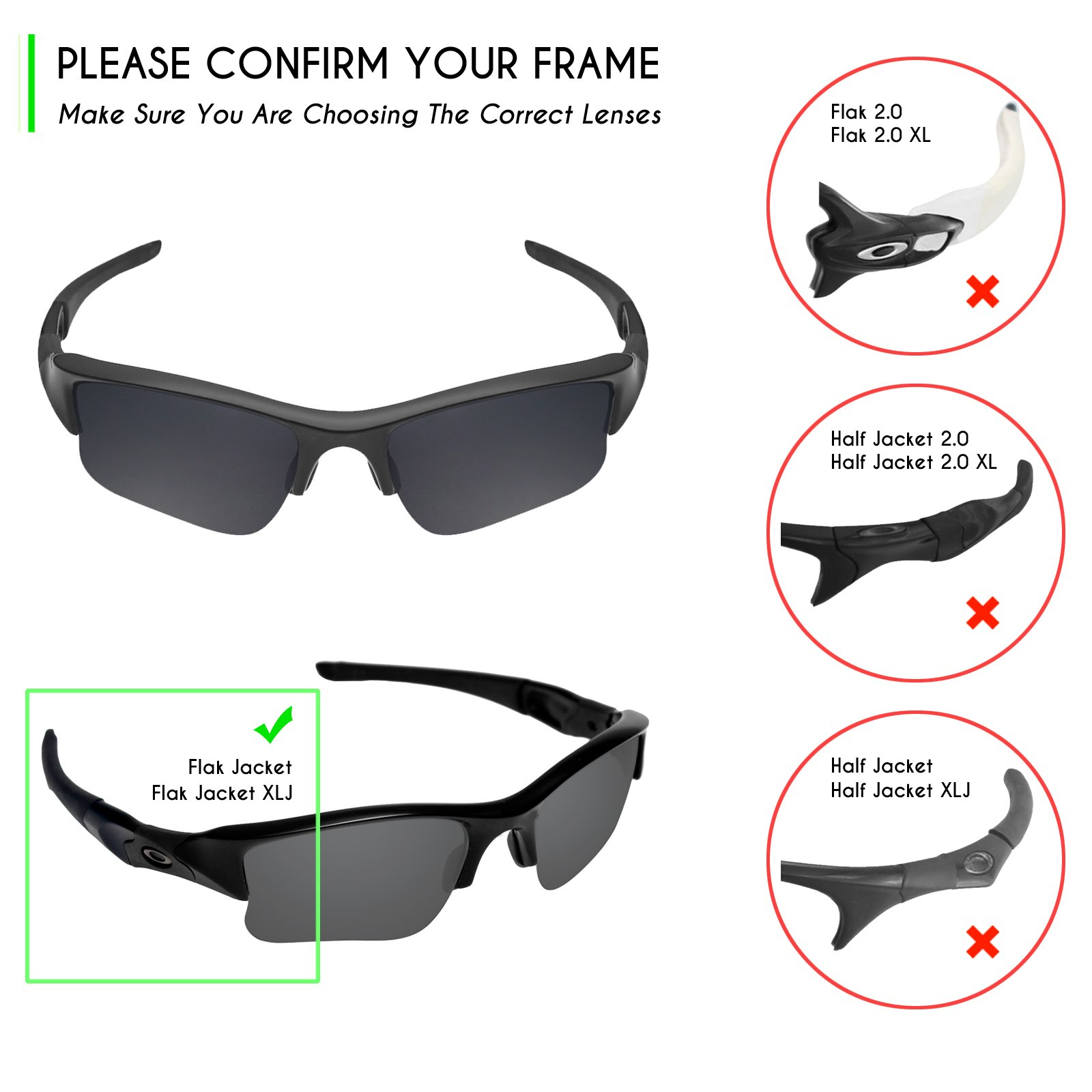 Mryok 2 Pair Polarized Replacement Lenses for Oakley Flak Jacket XLJ Sunglass - Options by Mryok (Image #6)