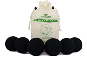 Organic Wool Dryer Balls - Black 6 XL Premium Quality Reusable Natural Fabric Softener, 100% Hand Made, Natural, New Zealand Merino Wool, Fair-Trade