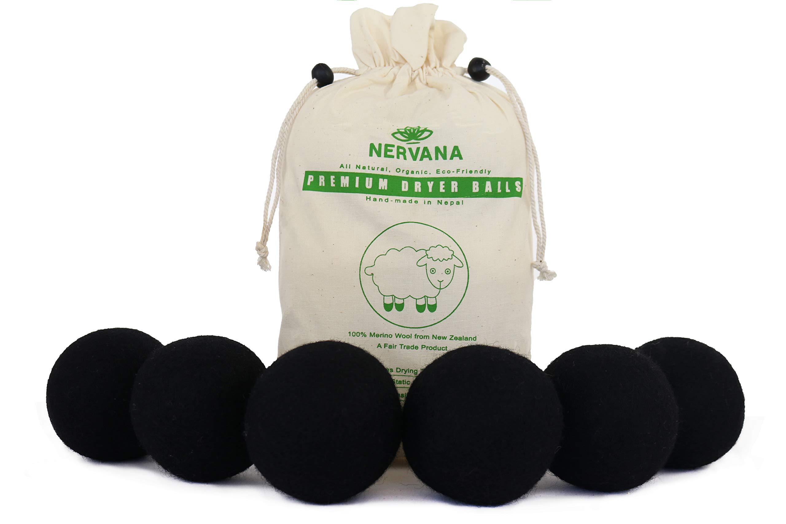Organic Wool Dryer Balls - Black 6 XL Premium Quality Reusable Natural Fabric Softener, 100% Hand Made, Natural, New Zealand Merino Wool, Fair-Trade