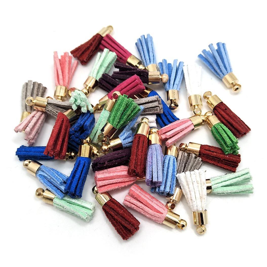 29 100Pcs Suede Handmade Tiny Soft Tassels Mini Tassels,Colorful Tassels Earring Tassels Assorted Colors Randomly