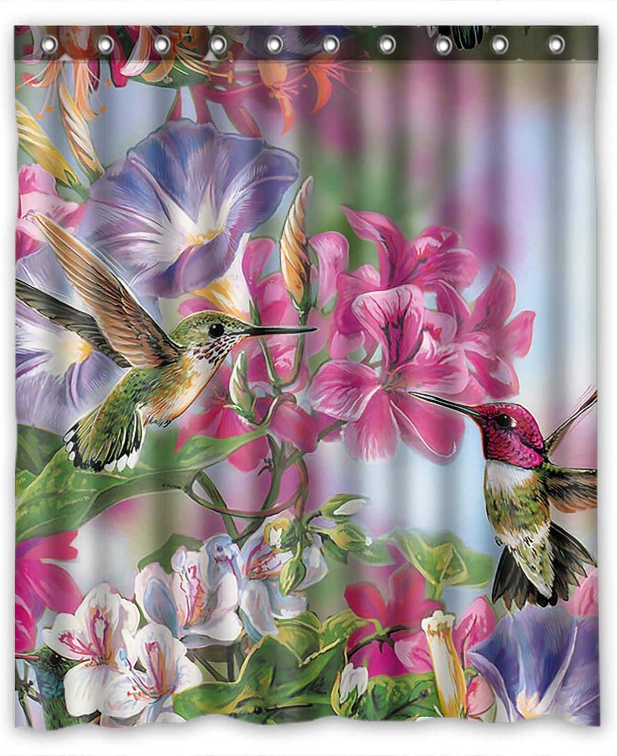 150 X 180 cm Shower Curtains Hummingbird Watercolor Bathroom Decoration Cozy Lovely Decor Bathroom Fabric Bathroom Decor Set with Hooks Shower Curtain 60 X 70 Inchs