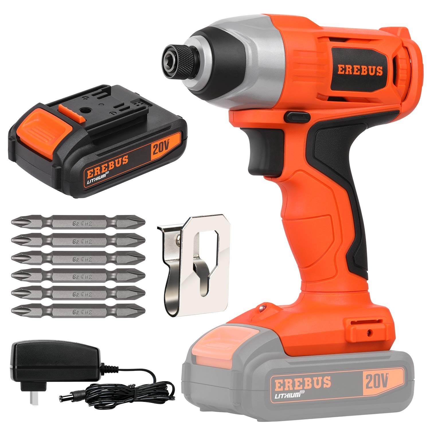 "EREBUS 20V Lithium Ion 1/4"" Hex Cordless Impact Driver w/ 1.3Ah Battery and Charger (95307)"