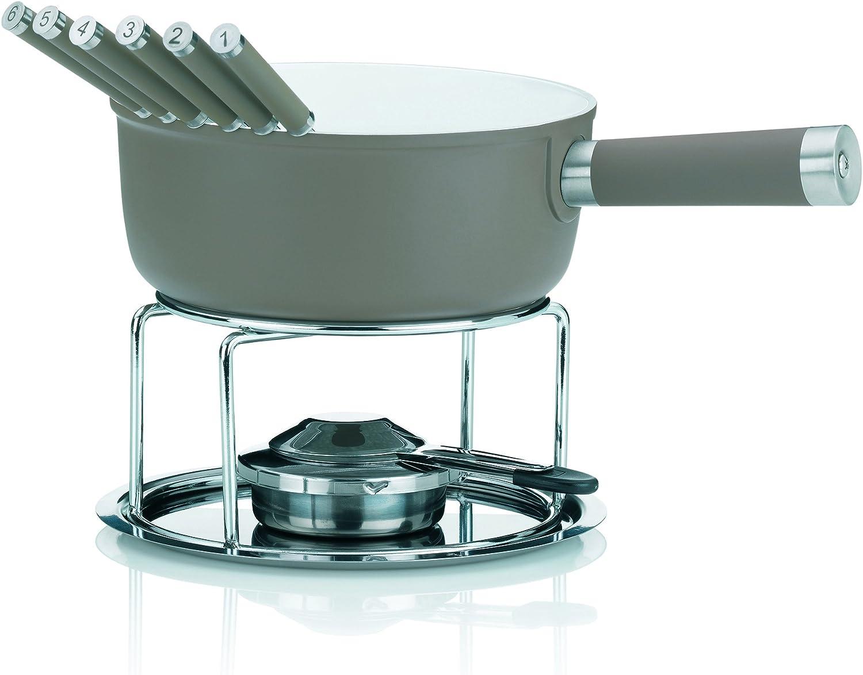 convient pour plaque /à induction 1 l gris Kela Set /à fondue de fromage 10 pi/ècesFonte daluminium rev/êtement en c/éramique