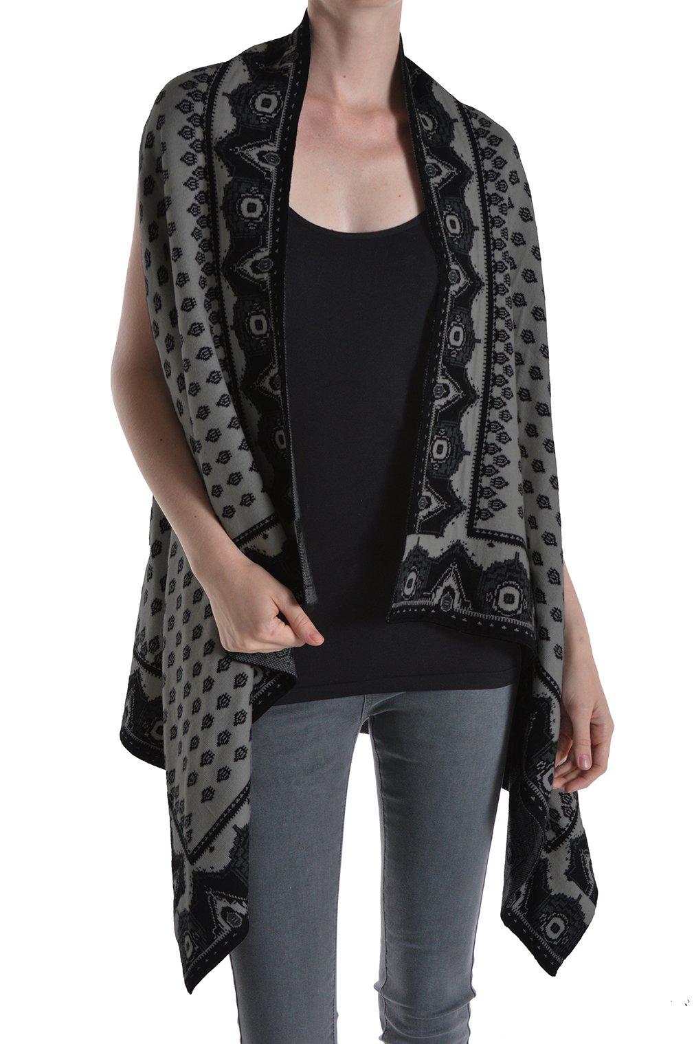 Basico Women's Knit Shrug Cardigan Sweater Vest (One Size, Style 76- Grey)