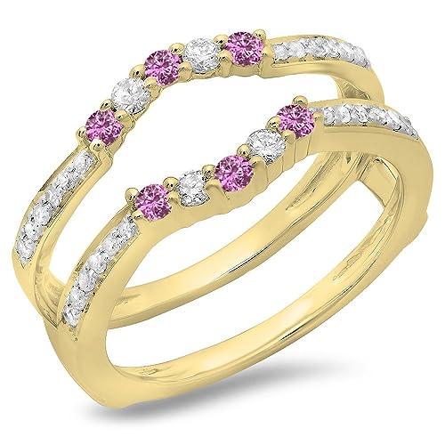 DazzlingRock Collection Alianza de Boda Rosada del Zafiro y del Diamante del Oro 14K 5 Anillo