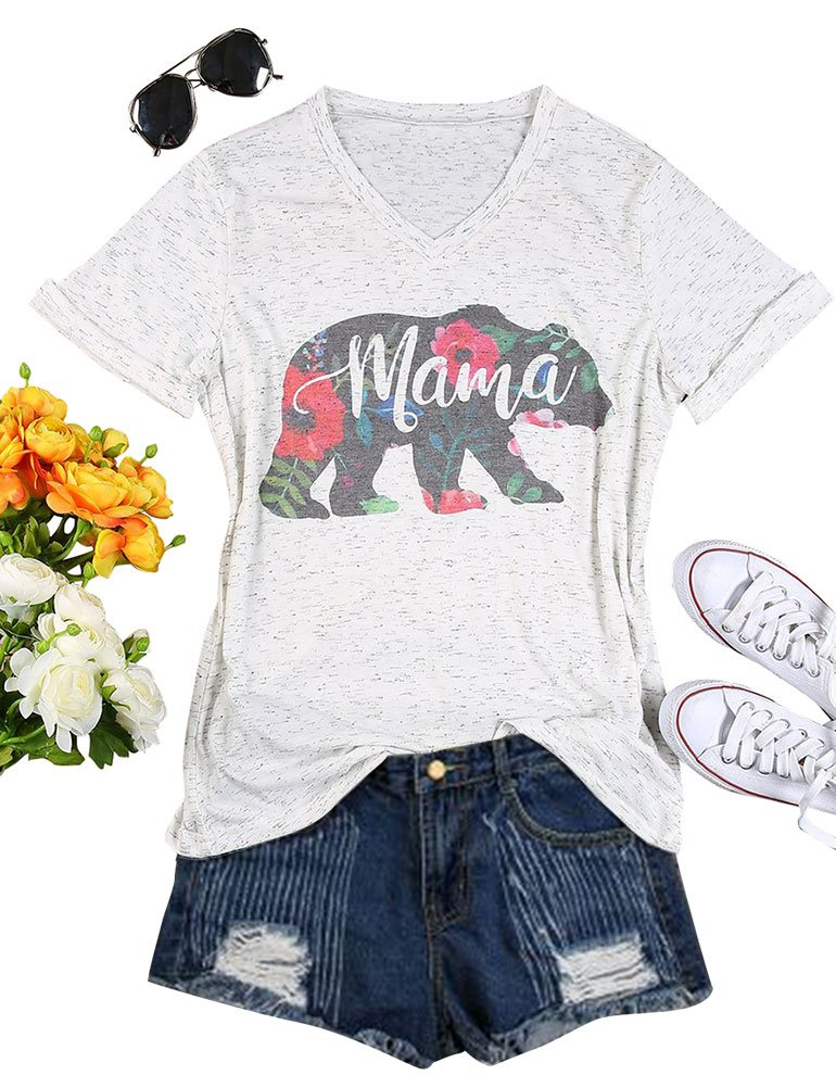 SCX Mom's T-Shirt Cute Letter Print Mama Summer Colorful V Neck Shirt for Mom's Gift