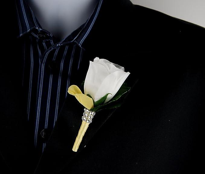 Amazon.com: Boutonniere – Rosa blanca luz amarillo Pétalo y ...