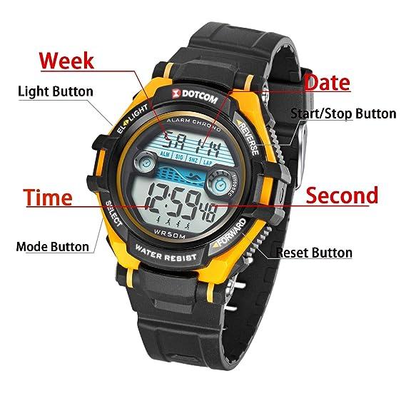 Relojes de Pulsera Electrónicos Para Niños Niños Digital Relojes Para Niños Niñas Deportes-5 ATM Reloj Deportivo Impermeable al aire libre Con Alarma ...