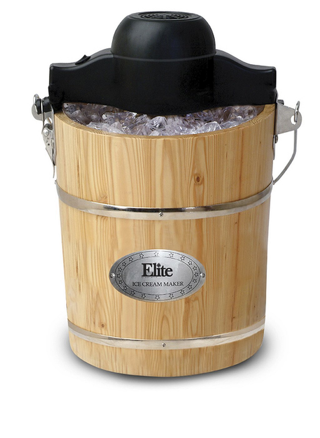 6-Quart Brown Old-Fashioned Pine-Bucket Electric/Manual Ice-Cream Maker