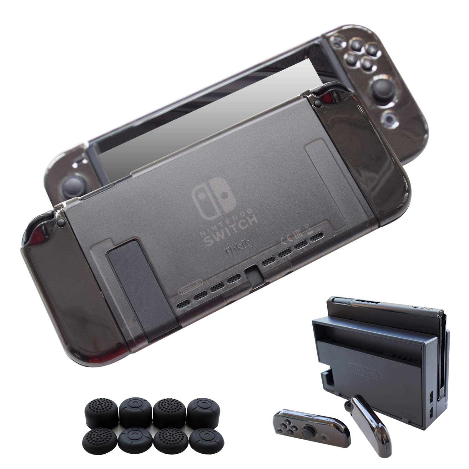Hikfly 3in1 Ultra Thin PC Case Cover(Transparent Black) for Nintendo Switch Console and Joy-Con Controllers(Clear Black) with 8pcs Thumb Grips Super ...