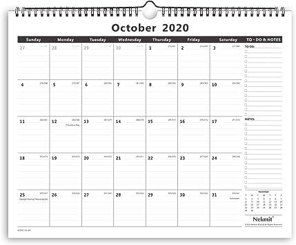 Amazon Com Nekmit 2021 Academic Monthly Wall Calendar Wirebound Calendar For Home Schooling Plan Study Ruled Blocks 15 X 12 Black Office Products