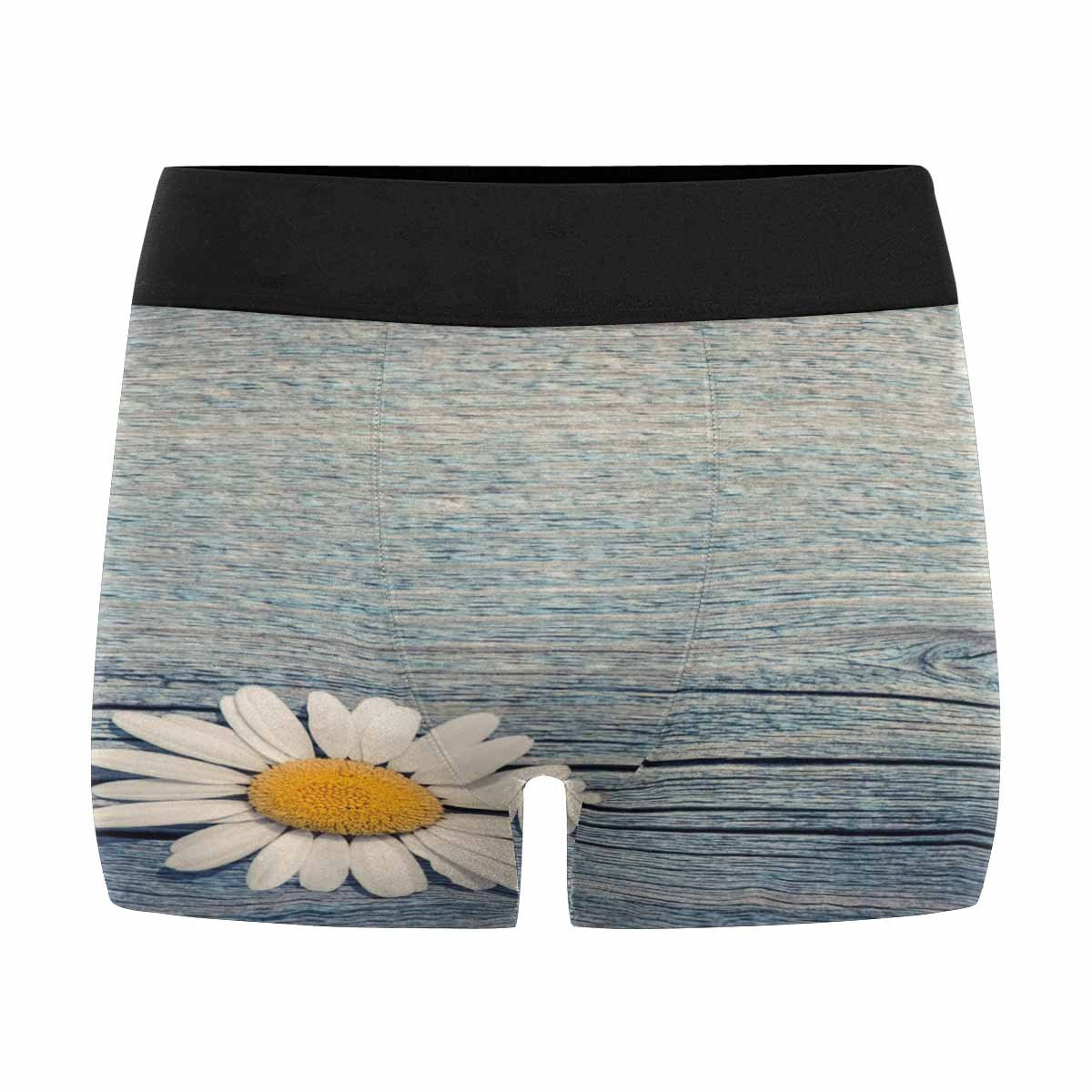 INTERESTPRINT Mens Boxer Briefs Beautiful Wild Chamomile Flower on Blue Wooden Floral Composition in Rural Vintage Style