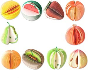 RedDreamer Memo Notes, 3D Fruit Shape Non-Sticky Notepads, Cute DIY Memo Pads, Kawaii Colorful Fruit Portable Paper Scratch Pad with Paper Clip for Office and School, Set of 10