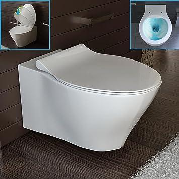 Top Wand-WC Spülrandlos Weiss Keramik Toilette inkl. WC-Sitz Hänge WC TB21