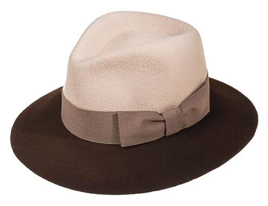 Ledatomica Cappello Donna Feltro Stile Borsalino Falda Larga Bicolor   Amazon.it  Abbigliamento d268531a185e