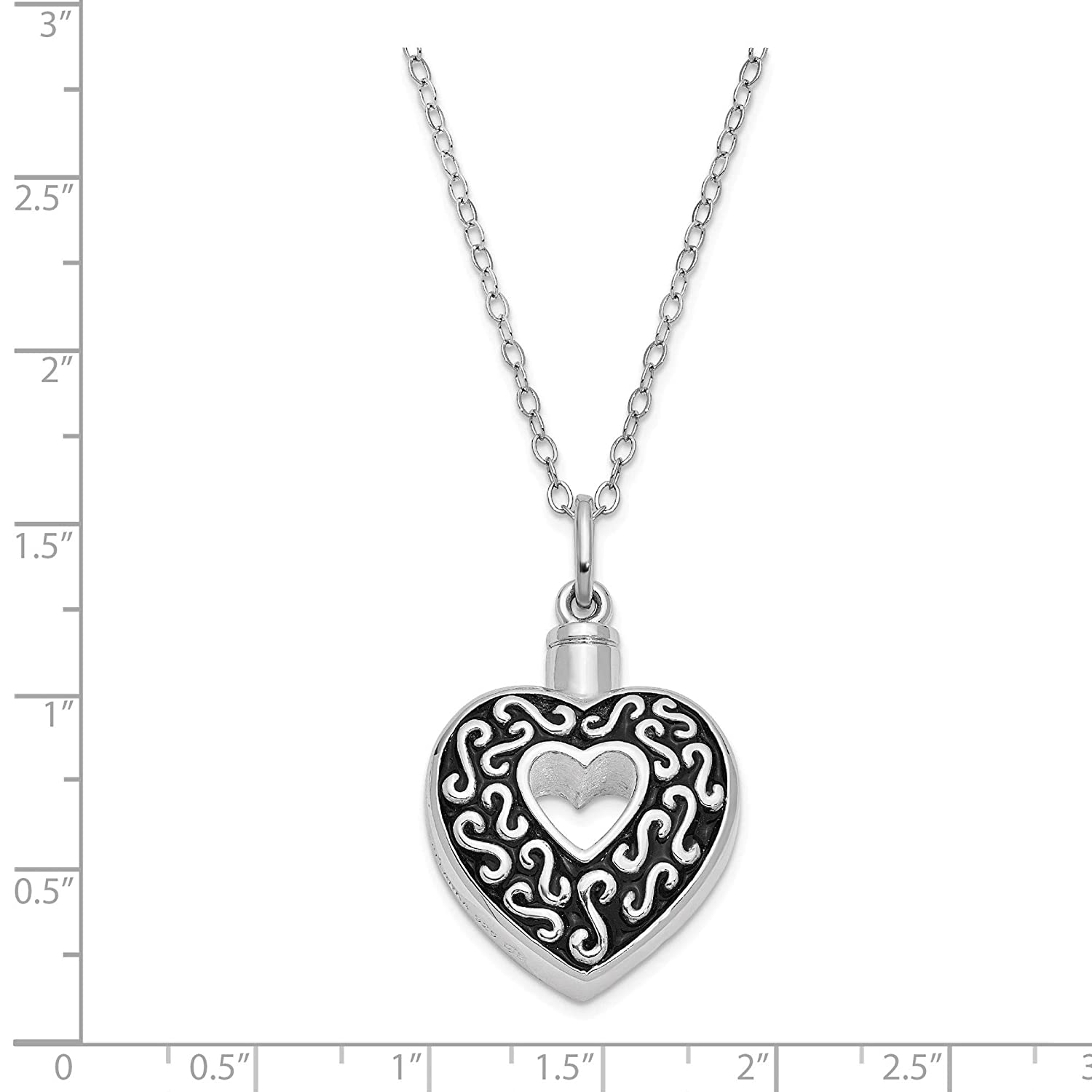 Jewelry Necklaces Necklace with Pendants Sterling Silver Antiqued Remembrance of Love 18in Necklace